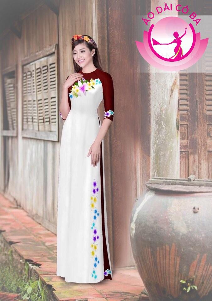 Áo dài truyền thống in hoa trên dưới mẫu 16