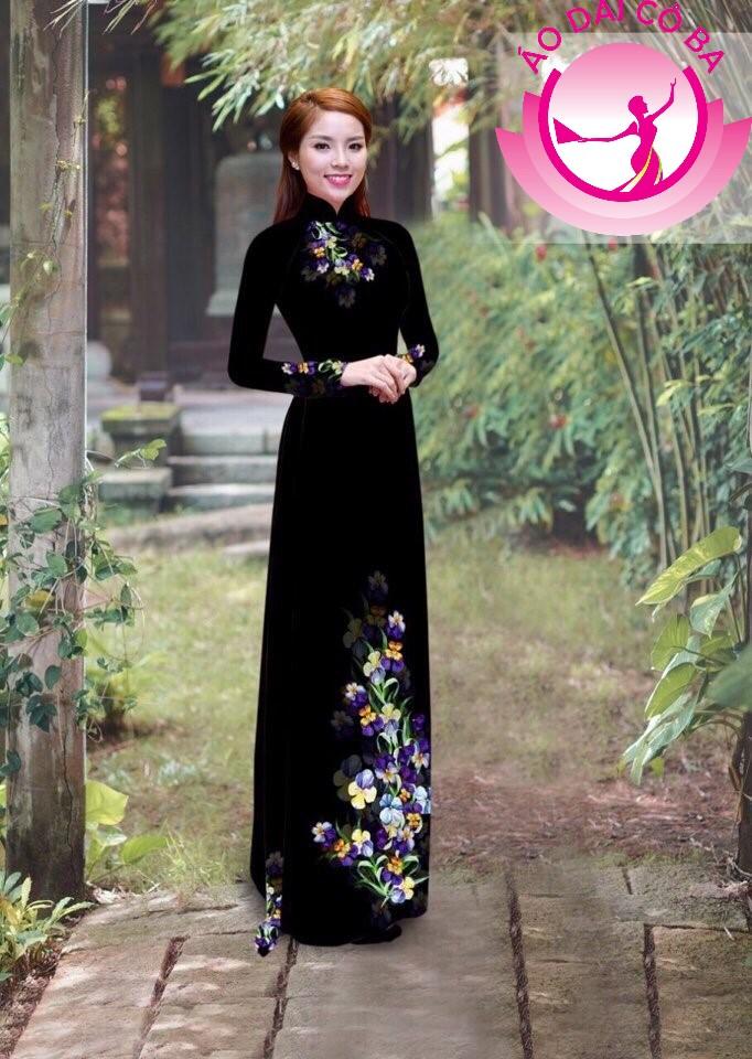 Áo dài truyền thống in hoa trên dưới mẫu 18