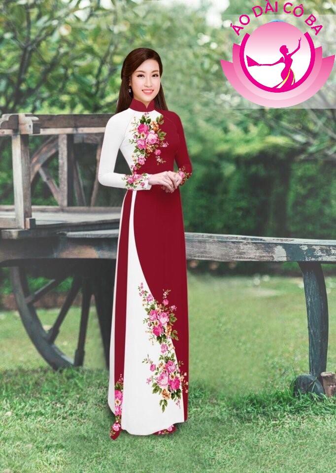 Áo dài truyền thống in hoa trên dưới mẫu 19
