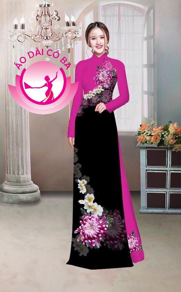 Áo dài truyền thống in hoa trên dưới mẫu 20