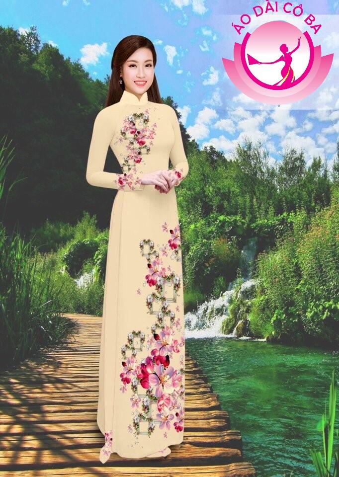 Áo dài truyền thống in hoa trên dưới mẫu 21