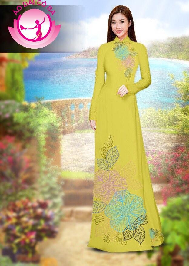 Áo dài truyền thống in hoa trên dưới mẫu 35