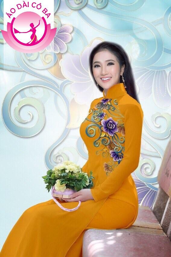 Áo dài truyền thống in hoa trên dưới mẫu 5