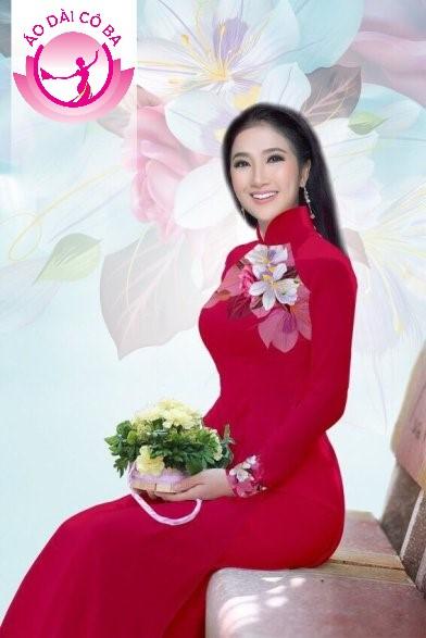 Áo dài truyền thống in hoa trên dưới mẫu 7