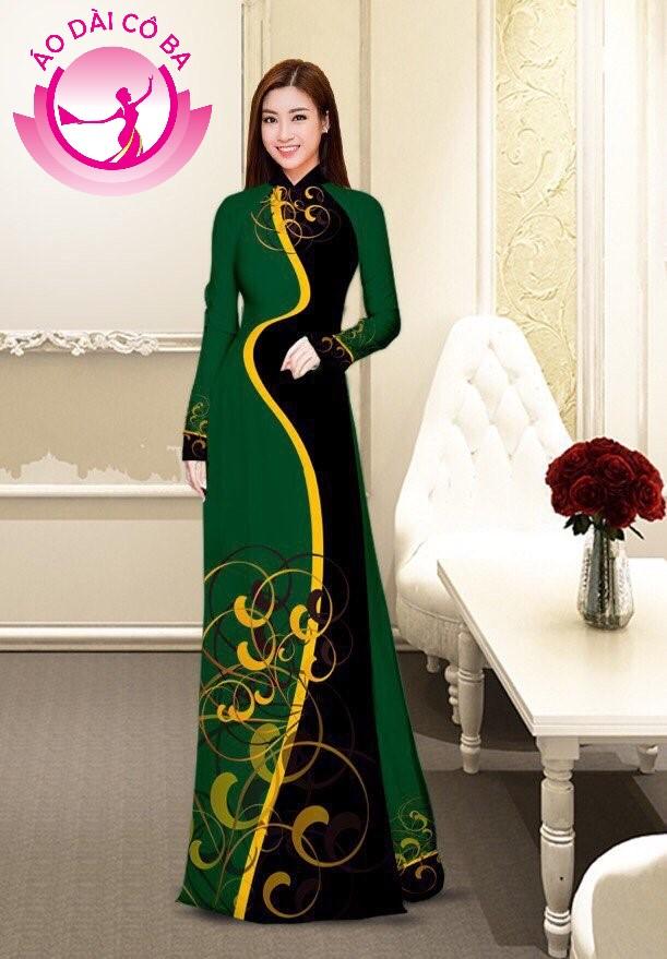 Áo dài truyền thống in hoa văn mẫu 4