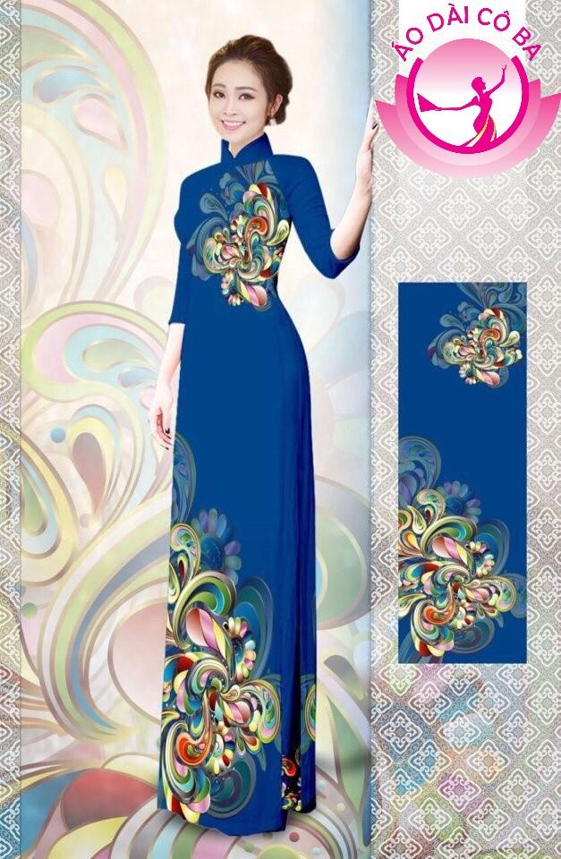 Áo dài truyền thống tay lỡ in hoa trên dưới mẫu 10