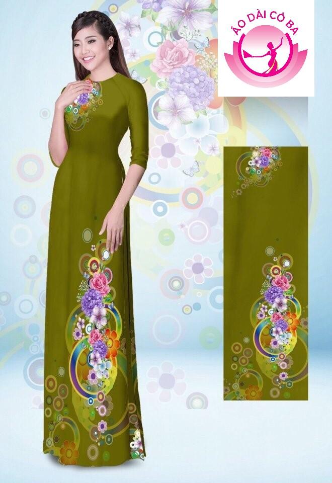 Áo dài truyền thống tay lỡ in hoa trên dưới mẫu 12