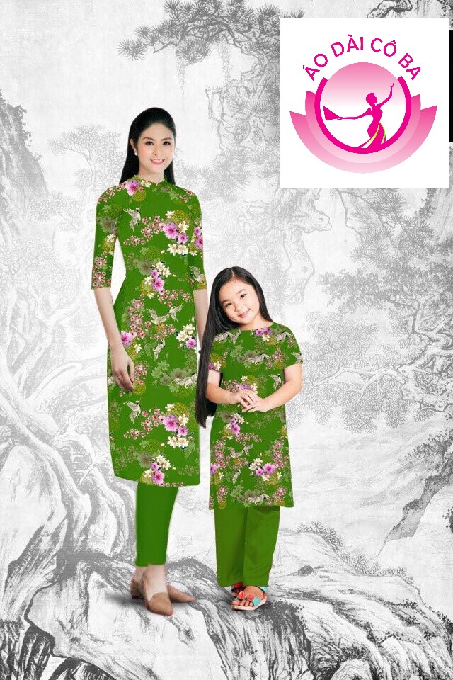 Áo Dài Cách Tân Họa Tiết Hoa Cho Mẹ Và Bé Mẫu CT-2044 & EB-850