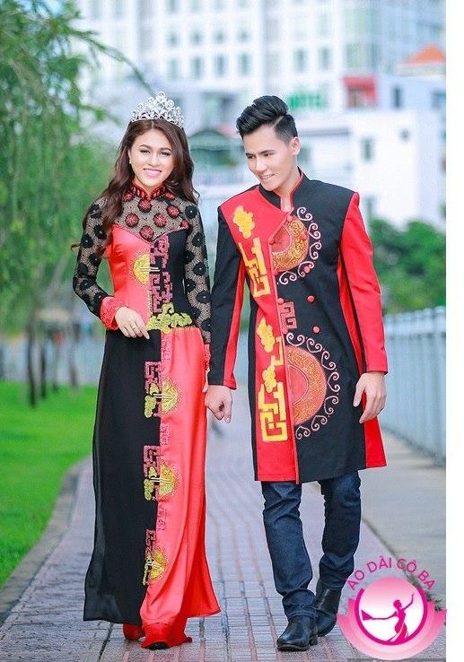 Áo dài cưới truyền thống phối họa tiết đặc sắc